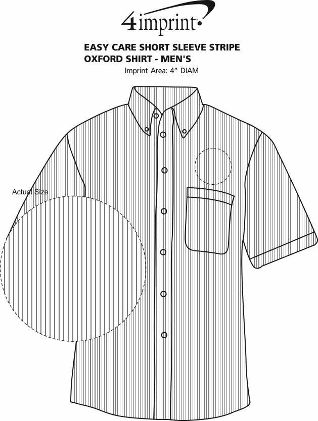 Imprint Area of Easy Care Short Sleeve Stripe Oxford Shirt - Men's