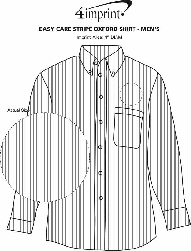 Imprint Area of Easy Care Stripe Oxford Shirt - Men's