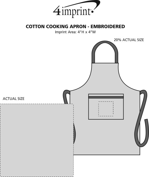 Imprint Area of Cotton Cooking Apron - Embroidered