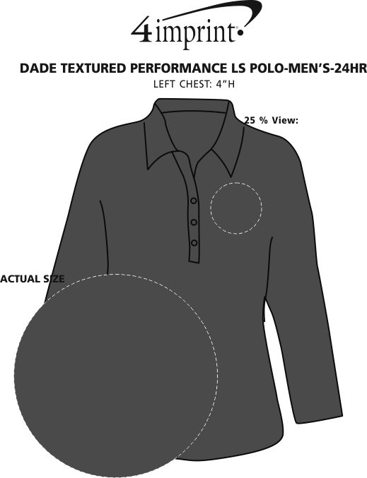 Imprint Area of Dade Textured Performance LS Polo - Men's - 24 hr