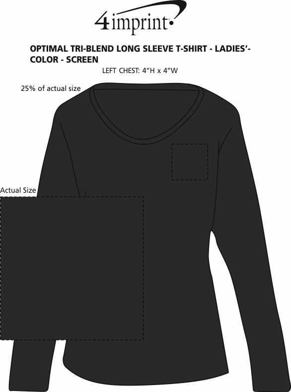 Imprint Area of Optimal Tri-Blend Long Sleeve T-Shirt - Ladies' - Colors - Screen