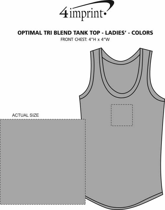 Imprint Area of Optimal Tri-Blend High Neck Tank Top - Ladies' - Colors