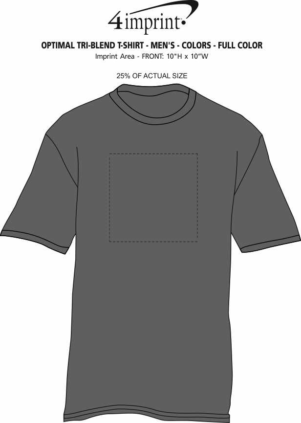 Imprint Area of Optimal Tri-Blend T-Shirt - Men's - Colors - Full Color