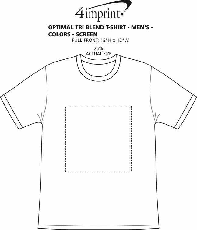 Imprint Area of Optimal Tri-Blend T-Shirt - Men's - Colors - Screen