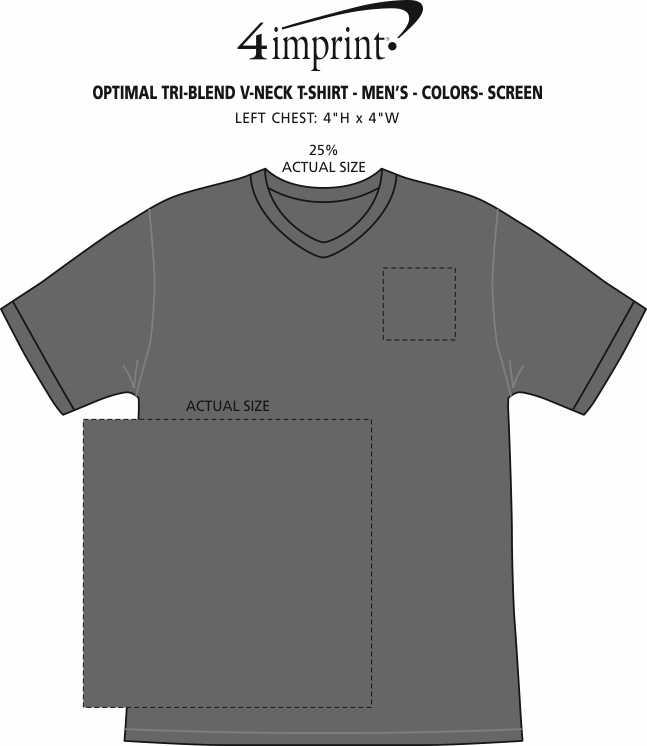 Imprint Area of Optimal Tri-Blend V-Neck T-Shirt - Men's - Colors - Screen
