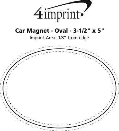 "Imprint Area of Car Magnet - Oval - 3-1/2"" x 5"""