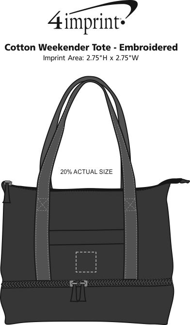 Imprint Area of Cotton Weekender Tote - Embroidered
