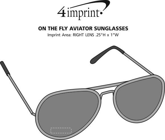 Imprint Area of On The Fly Aviator Sunglasses