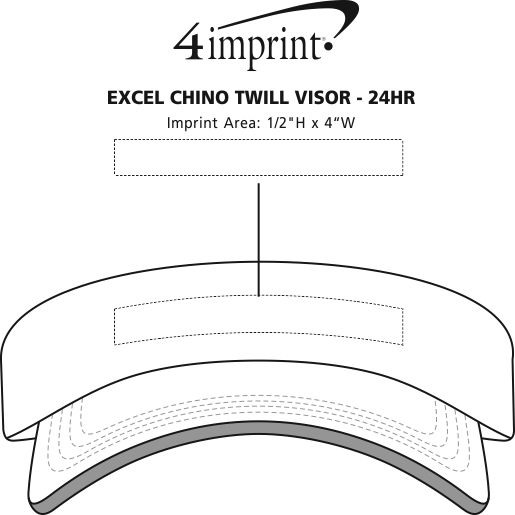 Imprint Area of Excel Chino Twill Visor - 24 hr