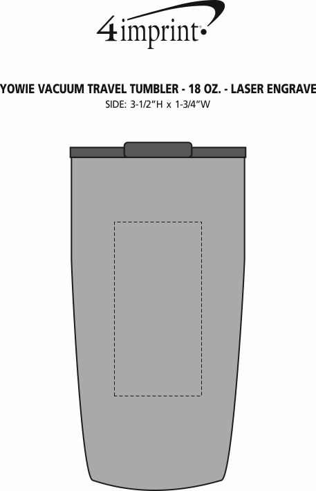 Imprint Area of Yowie Vacuum Travel Tumbler - 18 oz. - Laser Engraved