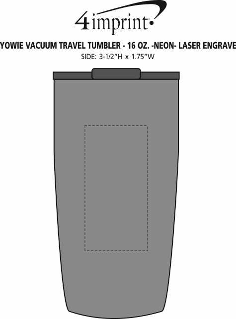 Imprint Area of Yowie Vacuum Travel Tumbler - 18 oz. - Neon - Laser Engraved