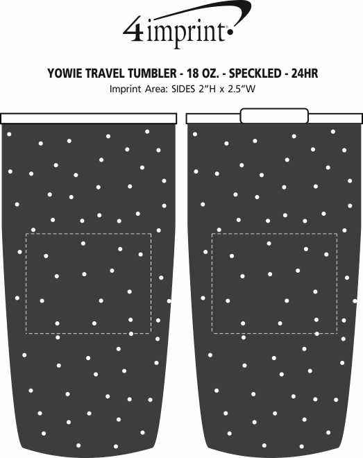 Imprint Area of Yowie Vacuum Travel Tumbler - 18 oz. - Speckled - 24 hr