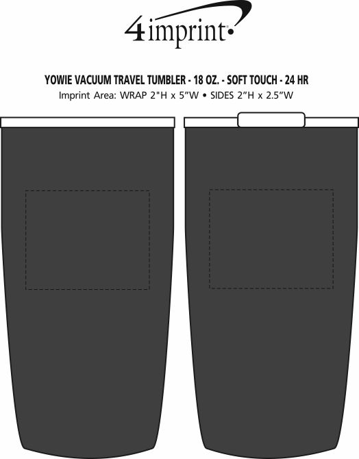 Imprint Area of Yowie Vacuum Travel Tumbler - 18 oz. - Soft Touch - 24 hr