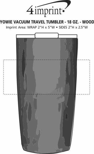 Imprint Area of Yowie Vacuum Travel Tumbler - 18 oz. - Wood