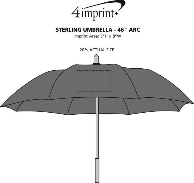 "Imprint Area of Sterling Umbrella - 46"" Arc"