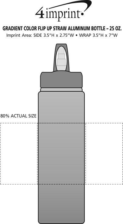 Imprint Area of Gradient Color Flip Up Straw Aluminum Bottle - 25 oz.