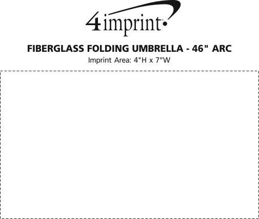 "Imprint Area of Fiberglass Folding Umbrella - 46"" Arc"