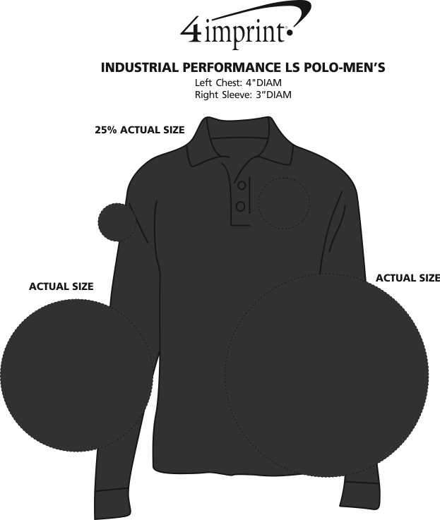 Imprint Area of Industrial Performance LS Polo - Men's