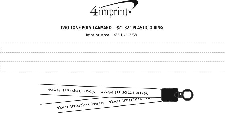 """Imprint Area of Two-Tone Poly Lanyard - 3/4"""" - 32"""" - Plastic O-Ring"""