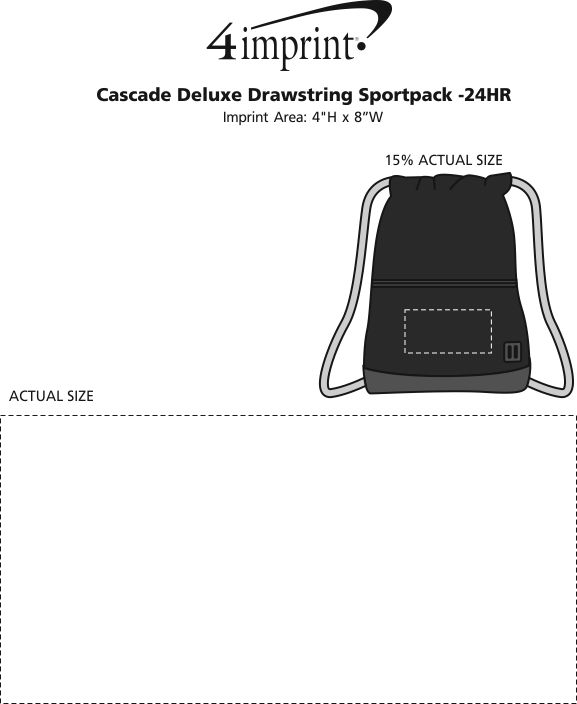 Imprint Area of Cascade Deluxe Drawstring Sportpack - 24 hr
