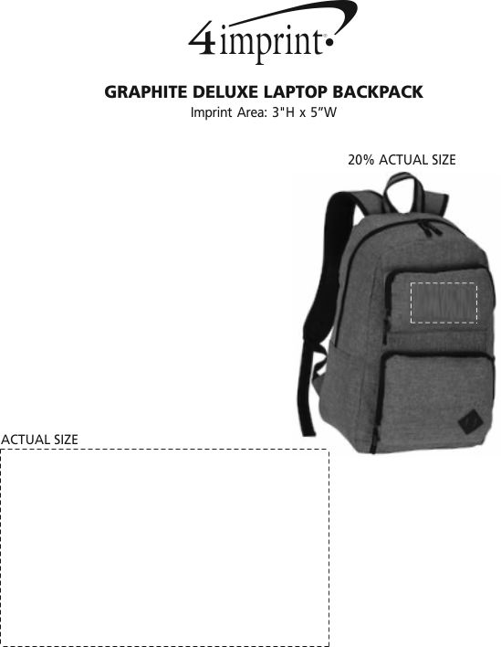 Imprint Area of Graphite Deluxe Laptop Backpack