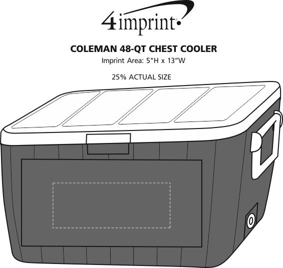 Imprint Area of Coleman 48-Quart Chest Cooler