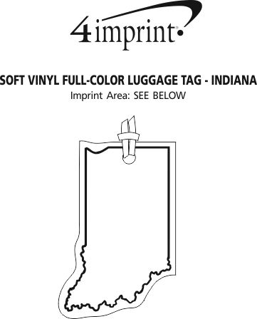 Imprint Area of Soft Vinyl Full-Color Luggage Tag - Indiana