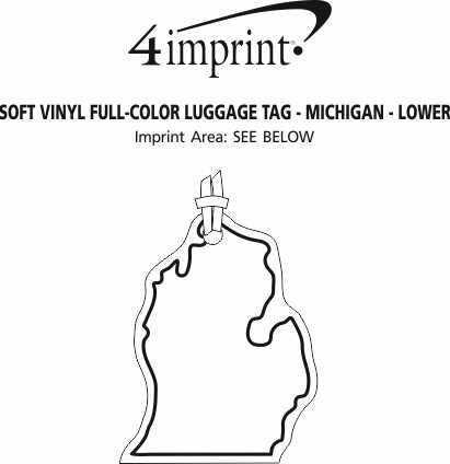 Imprint Area of Soft Vinyl Full-Color Luggage Tag - Lower Michigan