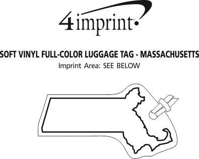 Imprint Area of Soft Vinyl Full-Color Luggage Tag - Massachusetts