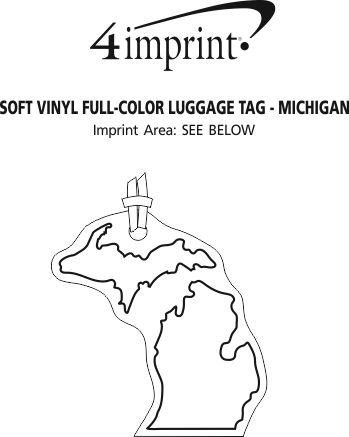 Imprint Area of Soft Vinyl Full-Color Luggage Tag - Michigan - Lower+Upper