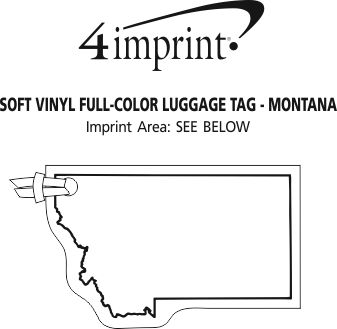 Imprint Area of Soft Vinyl Full-Color Luggage Tag - Montana