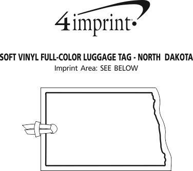Imprint Area of Soft Vinyl Full-Color Luggage Tag - North Dakota