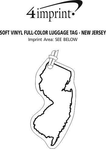 Imprint Area of Soft Vinyl Full-Color Luggage Tag - New Jersey