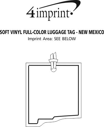 Imprint Area of Soft Vinyl Full-Color Luggage Tag - New Mexico