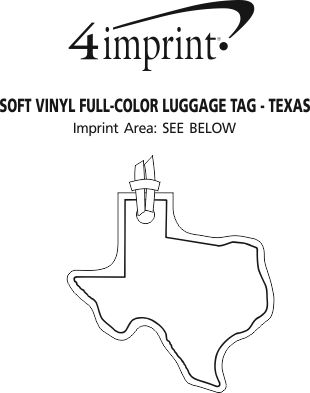 Imprint Area of Soft Vinyl Full-Color Luggage Tag - Texas