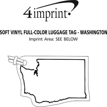 Imprint Area of Soft Vinyl Full-Color Luggage Tag - Washington