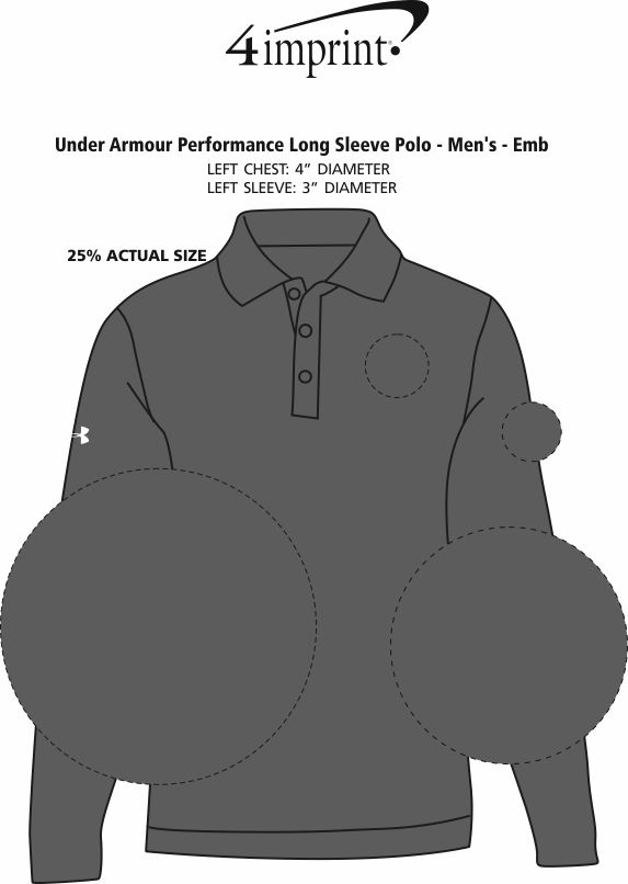Imprint Area of Under Armour Performance Long Sleeve Polo - Men's - Embroidered