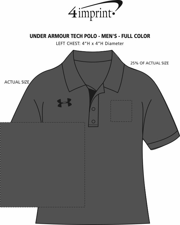Imprint Area of Under Armour Tech Polo - Men's - Full Color