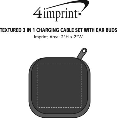 Imprint Area of Textured 3-in-1 Charging Cable Set with Ear Buds