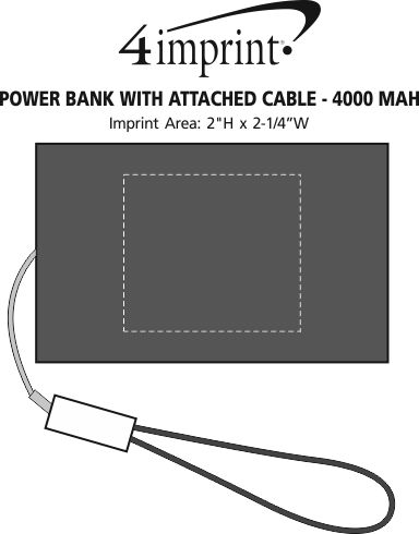 Imprint Area of Power Bank with Attached Cable