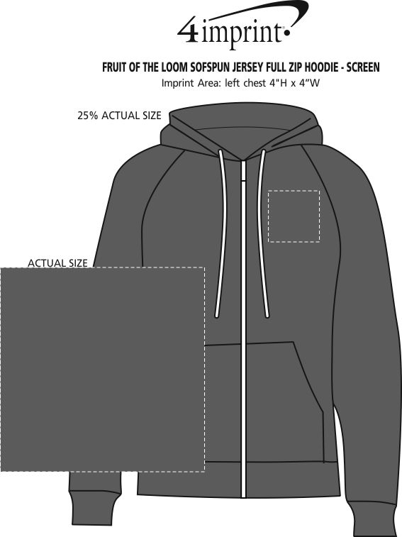 Imprint Area of Fruit of the Loom Sofspun Jersey Full-Zip Hoodie - Screen