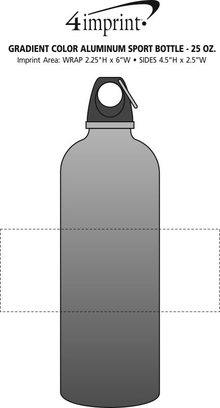 Imprint Area of Gradient Color Aluminum Sport Bottle - 25 oz.