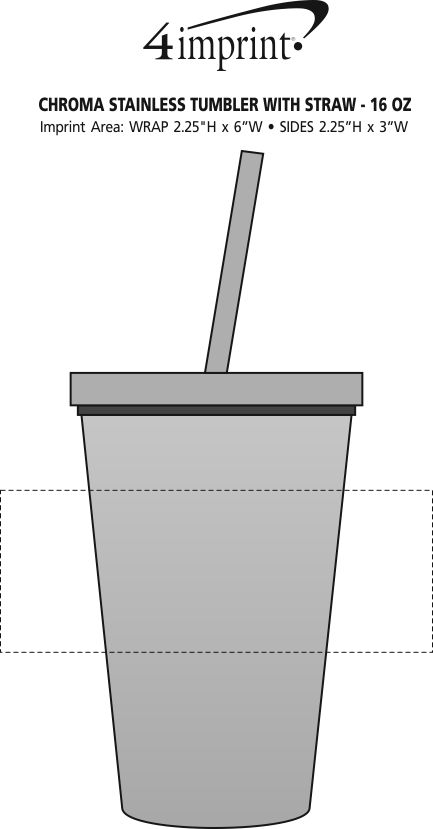Imprint Area of Chroma Stainless Tumbler with Straw - 16 oz.