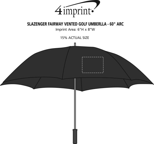 "Imprint Area of Slazenger Fairway Vented Golf Umbrella - 60"" Arc"