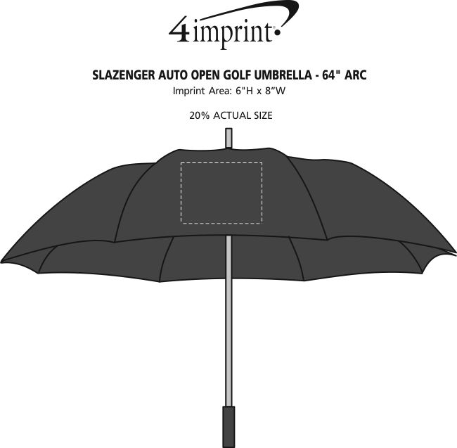 "Imprint Area of Slazenger Auto Open Golf Umbrella - 64"" Arc"