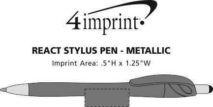 Imprint Area of React Stylus Pen - Metallic