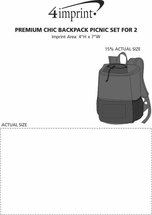 Imprint Area of Premium Chic Backpack Picnic Set for 2