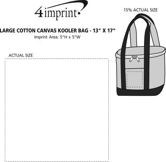 "Imprint Area of Large Cotton Canvas Kooler Bag - 13"" x 17"""