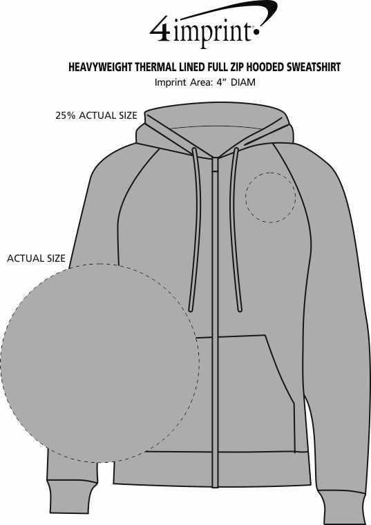 Imprint Area of Heavyweight Thermal Lined Full-Zip Hooded Sweatshirt