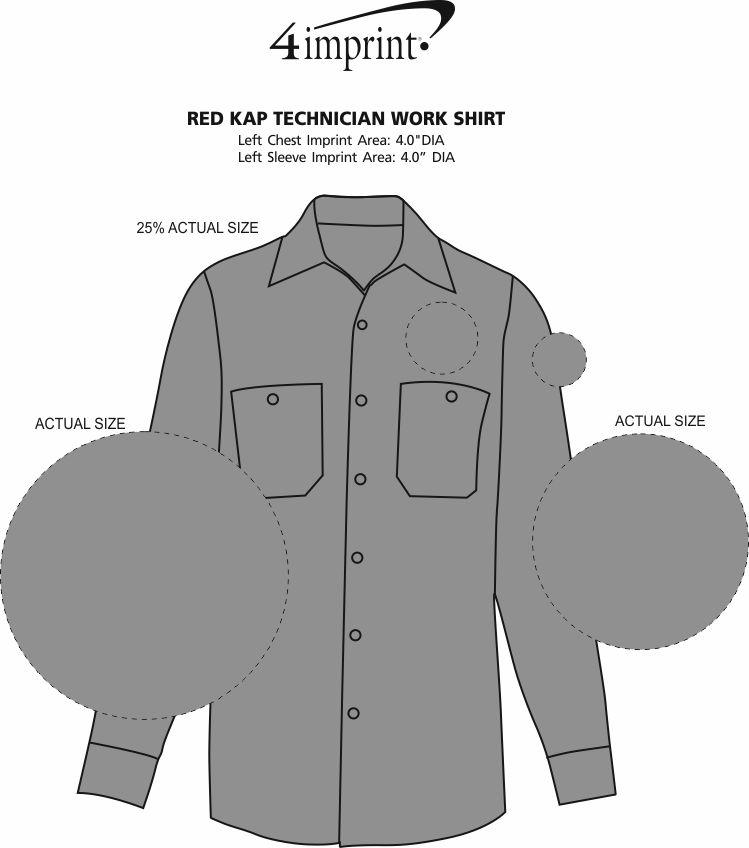 Imprint Area of Red Kap Technician Work Shirt